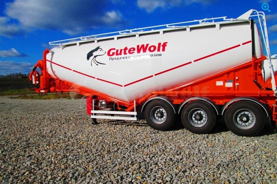 Полуприцеп цементовоз вакуумный с системой самозагрузки/саморазгрузки GuteWolf. Год выпуска 2018.